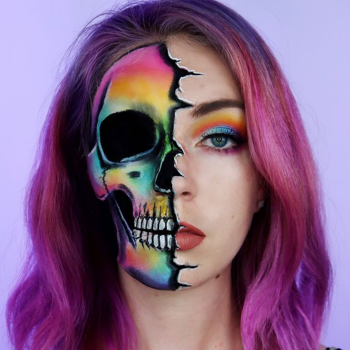 Half Rainbow Skull - Katie Cole Body Painting