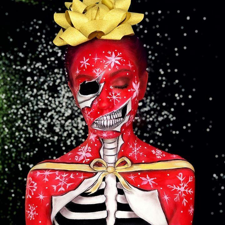 Christmas Skeleton - Katie Cole Body Painting
