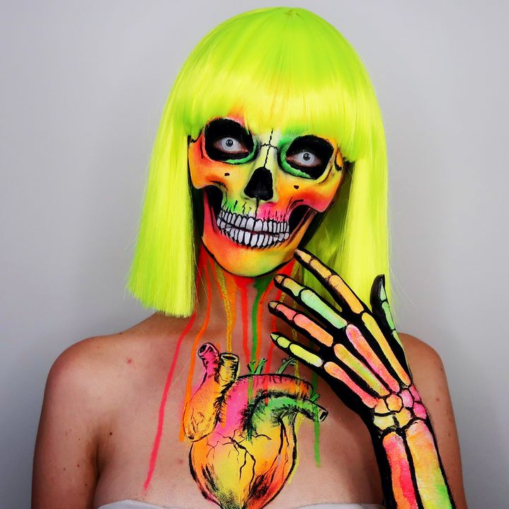 neon skelly - Katie Cole Body Painting