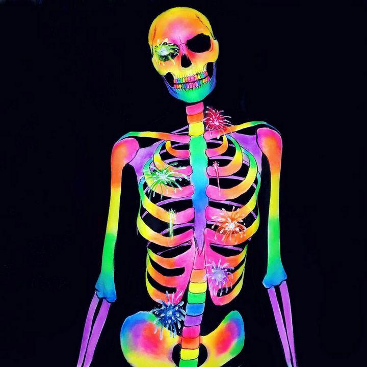 Fireworks Skeleton - Katie Cole Body Painting