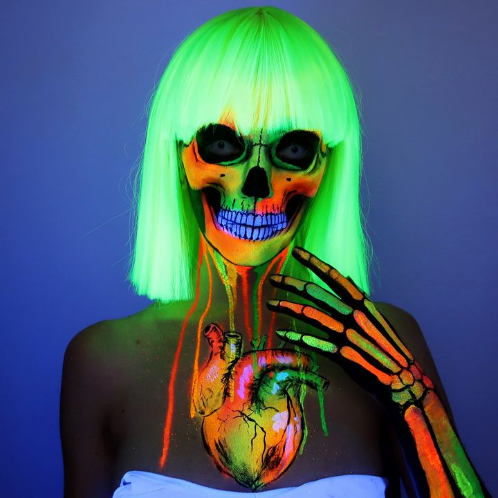 Black light skelly - Katie Cole Body Painting