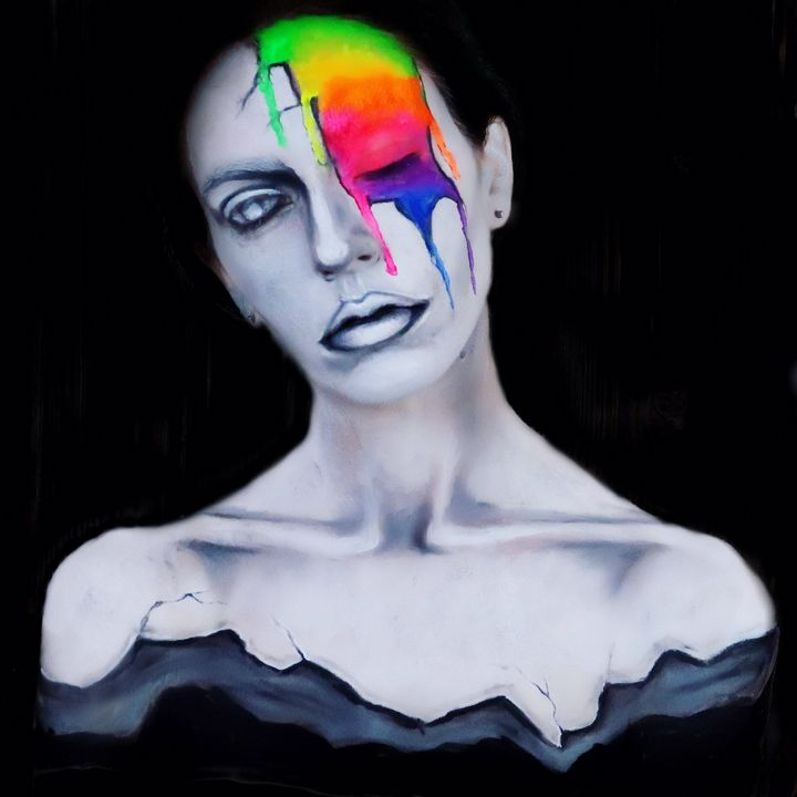 Dripping Rainbow Statue - Katie Cole Body Painting