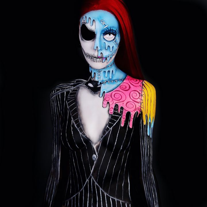 Jack and Sally melt - Katie Cole Body Painting