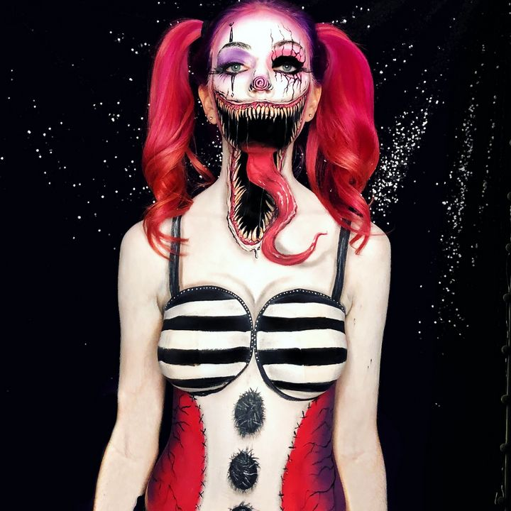 Venom Clown - Katie Cole Body Painting