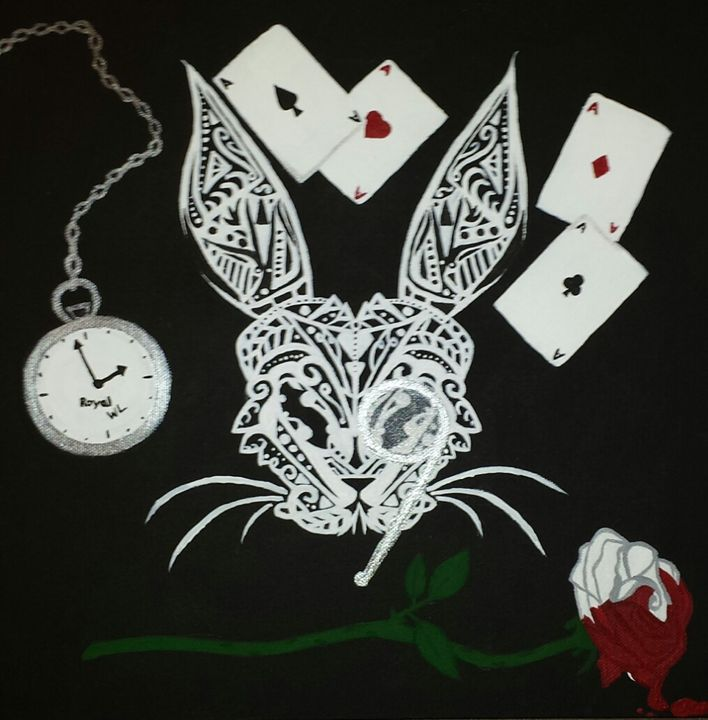 """""""Abstract Alice"""" (The White Rabbit) - Art by Nichole"""