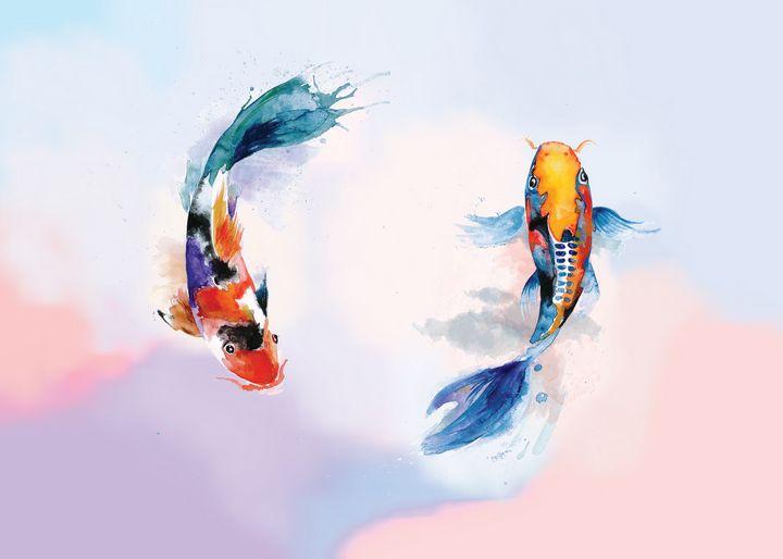 Koi Fish Watercolor painting - Ngoc Anh