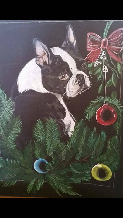 Boston terrier Christmas - Art by stephanie