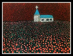Church in a Garden - Pointillism