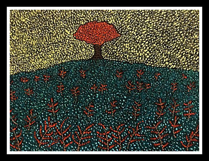 Solitary sapling - Pointillism art - Ganesh Kelagina Beedu Shenoy