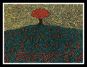 Solitary sapling - Pointillism art