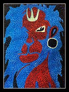 Lord Hanuman - Pointillism Style