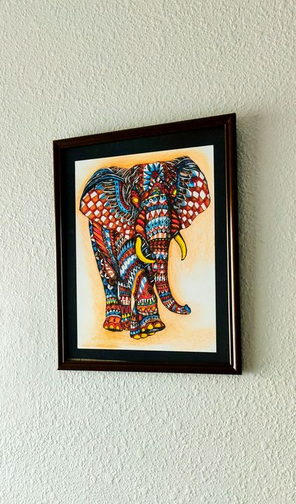 Zentangle style elephant painting - Bmgs700003
