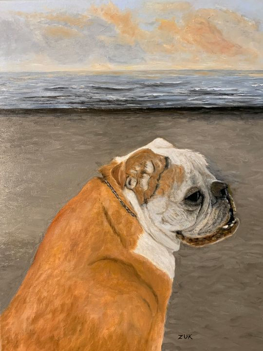 Bulldog On The Beach - Art by Karen Zuk Rosenblatt
