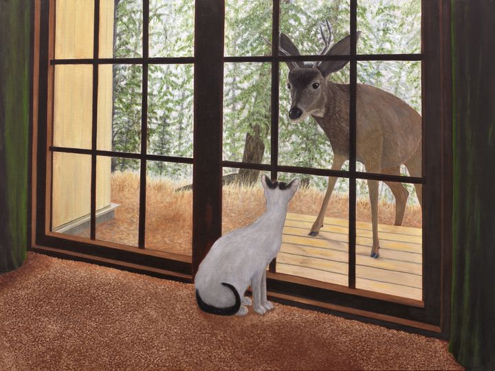 Cat Meets Deer - Art by Karen Zuk Rosenblatt