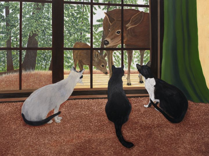 Cats and Deer - Art by Karen Zuk Rosenblatt