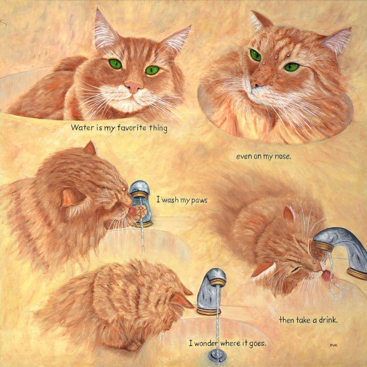 Cat Splash - Art by Karen Zuk Rosenblatt