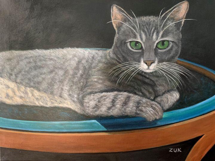 Grey Tabby Cat - Art by Karen Zuk Rosenblatt