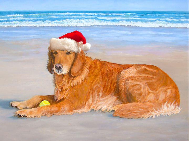 Golden Retreiver Holiday Card - Art by Karen Zuk Rosenblatt