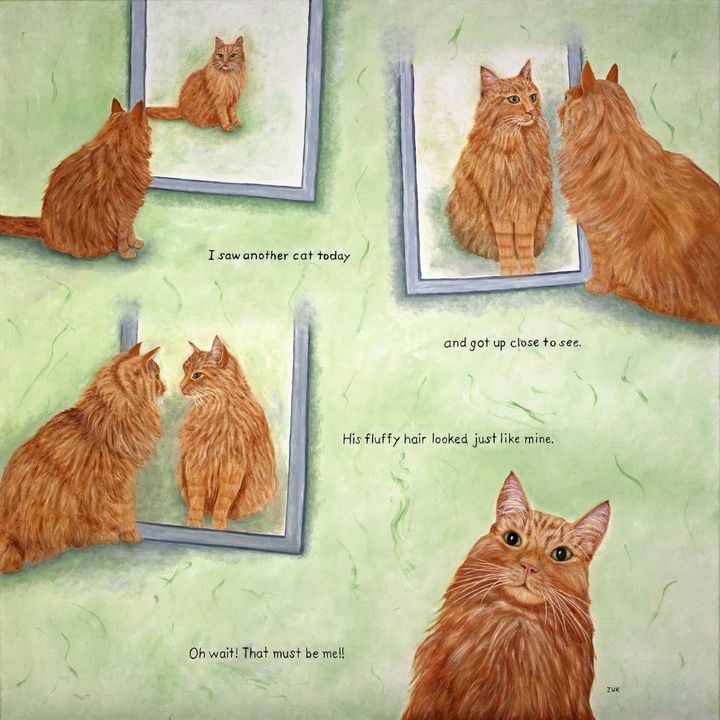 Cat In The Mirror - Art by Karen Zuk Rosenblatt