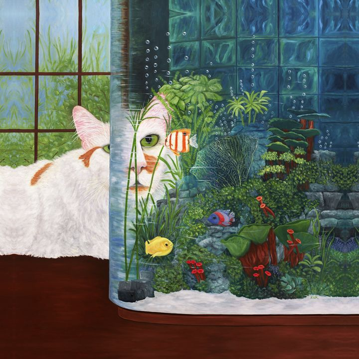 The Cat Aquatic - Art by Karen Zuk Rosenblatt