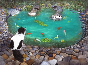 Cats and Koi - Art by Karen Zuk Rosenblatt