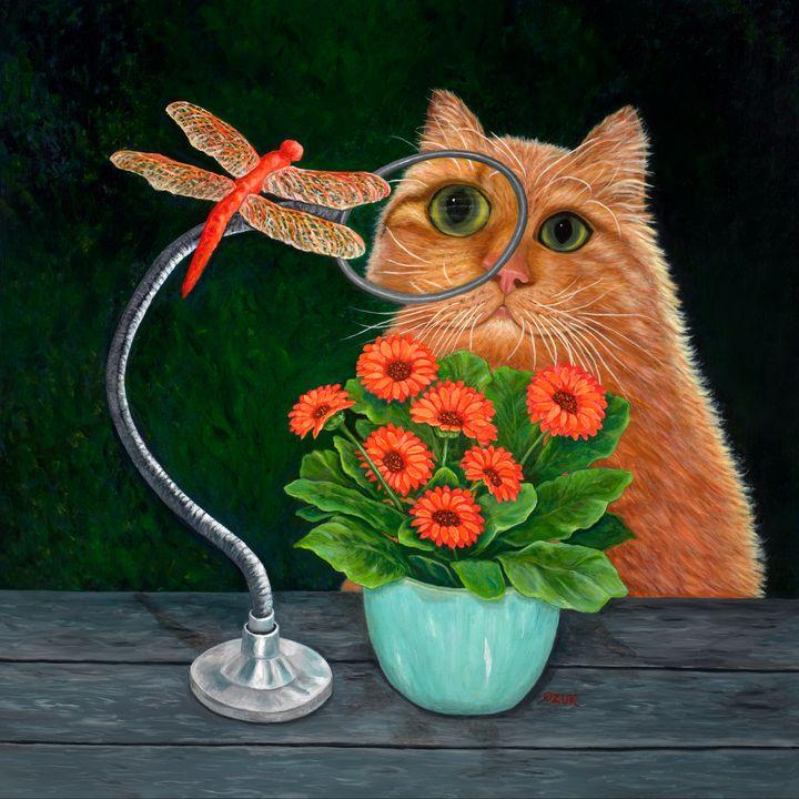 Dragonfly And Cat - Art by Karen Zuk Rosenblatt