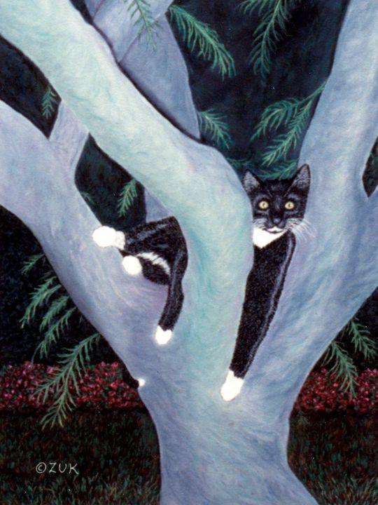 Tuxedo Cat in Mimosa Tree - Art by Karen Zuk Rosenblatt