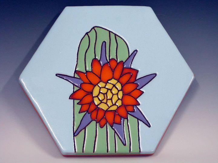 Ceramic Art Paver Tile Cactus Flower - Pacifica Tiles
