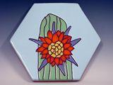 Ceramic Art Paver Cactus Flower