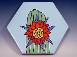 Ceramic Art Paver Tile Cactus Flower