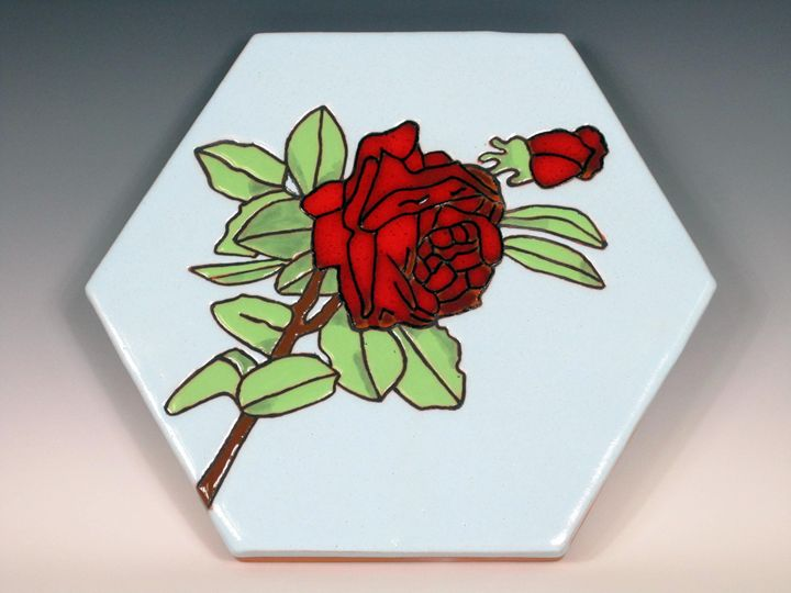Ceramic Art Paver Tile Red Rose - Pacifica Tiles