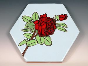 Ceramic Art Paver Tile Red Rose