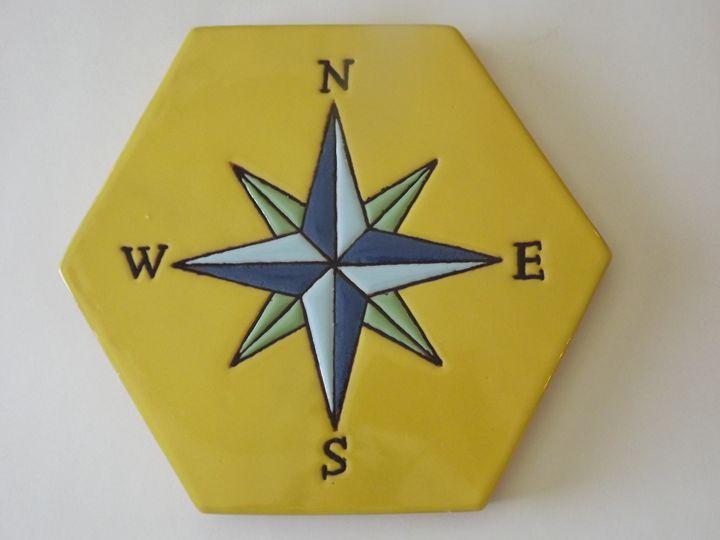 Ceramic Art Paver Tile Compass - Pacifica Tiles