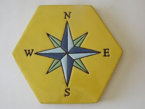 Ceramic Art Paver Tile Compass
