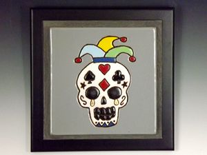 Sugar Skull Ceramic Art Tile #3