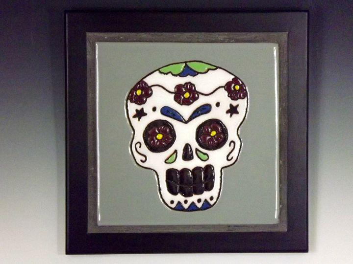 Sugar Skull Ceramic Art Tile #4 - Pacifica Tiles