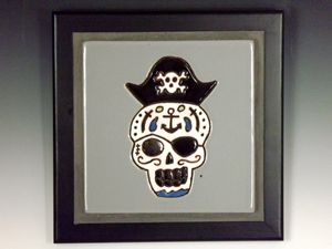 Sugar Skull Ceramic Art Tile #5
