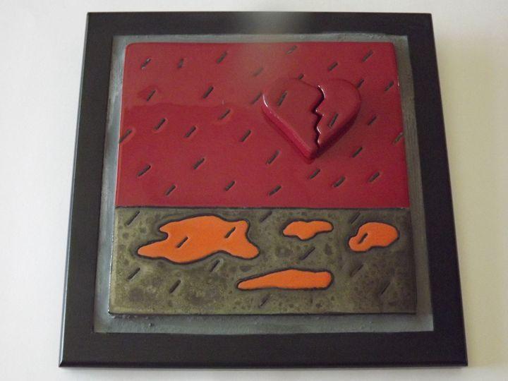 Ceramic Tile Broken Heart & Writing - Pacifica Tiles