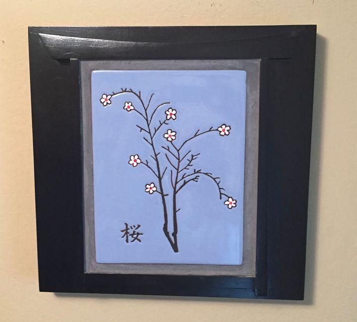 Cherry Blossom Ceramic Art Tile - Pacifica Tiles