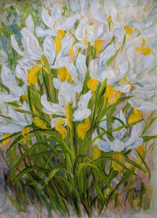 White Irises in the Garden - Sylvie Carter