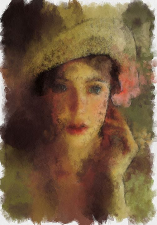Girl with hat and hibiscus... - Kno !