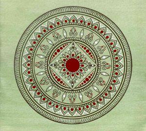Hand Drawn Green And Red Mandala
