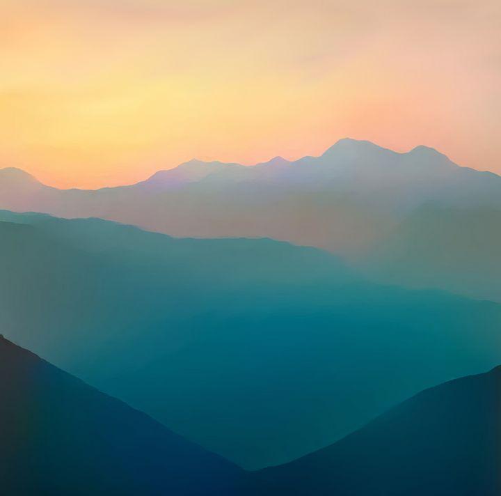 mountain and orange sky - Mountain view