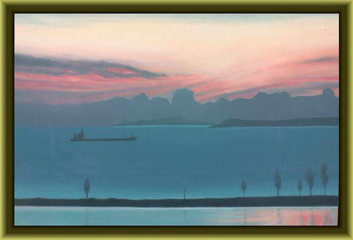 From the Window - Boat at Sunrise - Valentin Manuelian