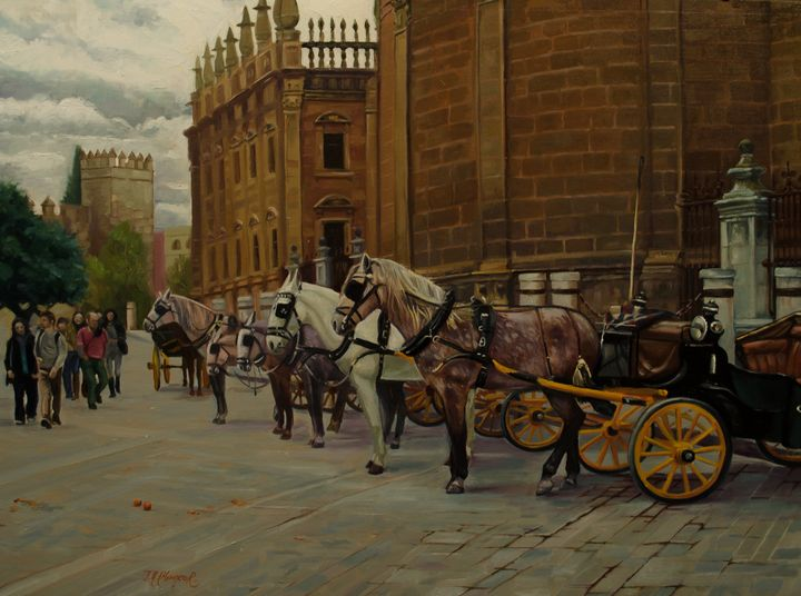 Carriages by the cathedral - Jose Miguel Blanco