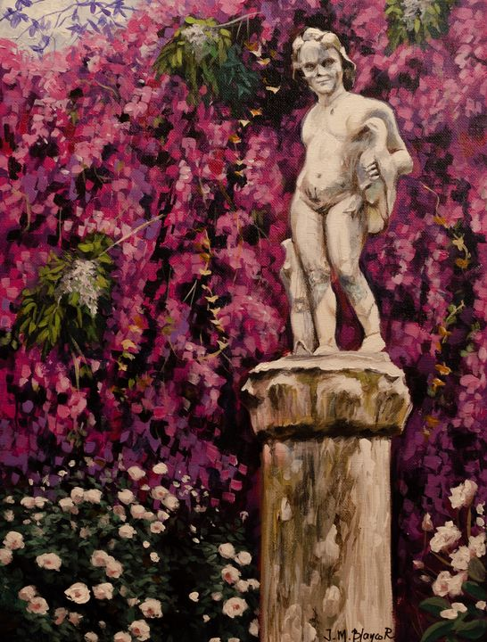 Garden statue of boy - Jose Miguel Blanco