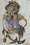 Watercolor on paper, 48 x 54 cm, unf