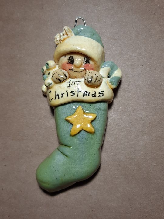 First Christmas Baby Boy Ornament - Panoramic Palette