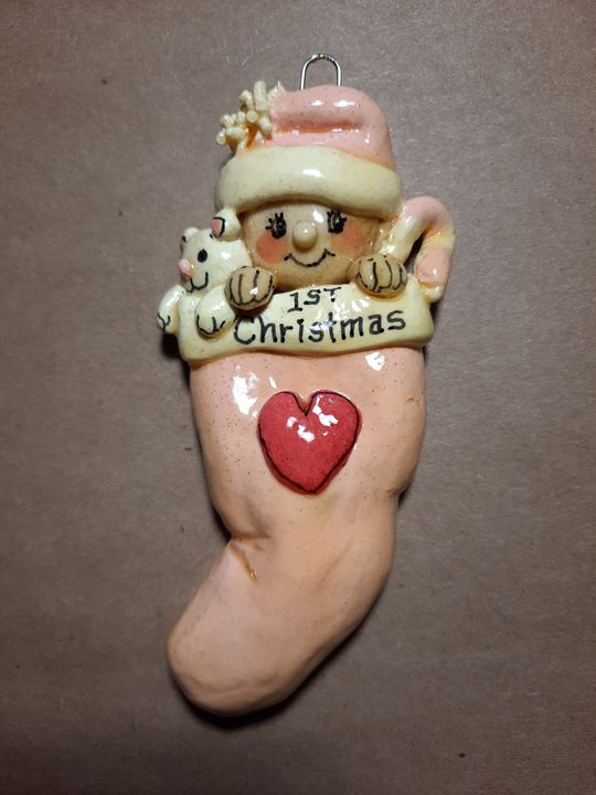 First Christmas Baby Girl Ornament - Panoramic Palette