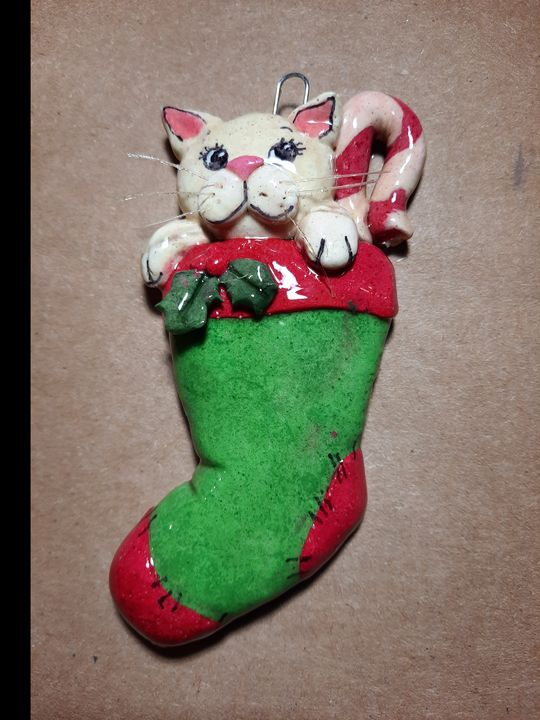 Dough Ornament White Cat in Stocking - Panoramic Palette
